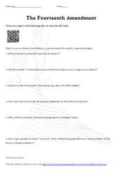 Reconstruction Amendments (13th, 14th, 15th) Internet Worksheet ...