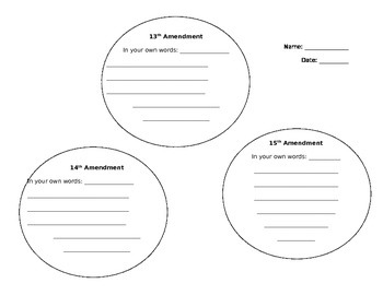 reconstruction amendments worksheet by lauren shurley tpt. Black Bedroom Furniture Sets. Home Design Ideas