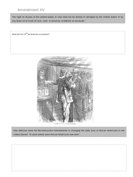 Reconstruction Amendments Worksheet - NYS Regents Aligned