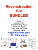 Reconstruction Bundle: Virginia Studies 8abc Notes, Worksh