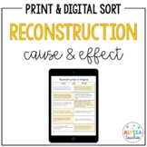 Reconstruction Cause & Effect Sorting Cards and Worksheet (VS.8)