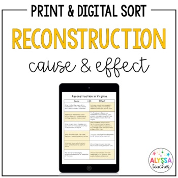 Reconstruction Cause-and-Effect Sorting Cards... by Alyssa Teaches ...