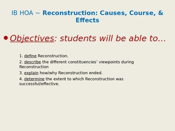 Reconstruction: Causes, Course, & Effects