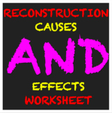 Reconstruction Causes and Effects Activity Worksheet CCLS