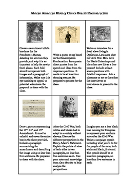 Reconstruction Choice Board Project