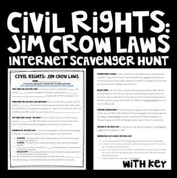 Reconstruction: Civil Right - Jim Crow Laws Internet Scavenger Hunt Activity
