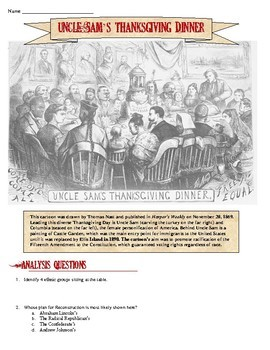Reconstruction & Civil War Thanksgiving Cartoon Analysis