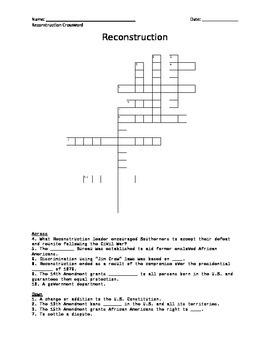 Reconstruction Crossword