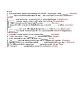Reconstruction Crossword or Web Quest
