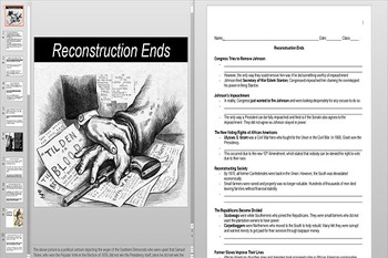 Reconstruction Ends and the Impeachment of Andrew Johnson Powerpoint & Worksheet
