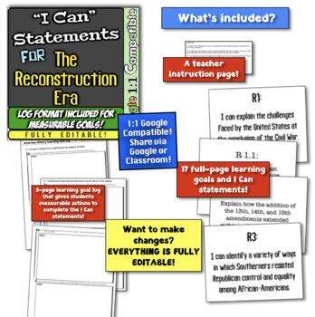 """Reconstruction Era """"I Can"""" Statements & Learning Goals! Post-Civil War Goals!"""