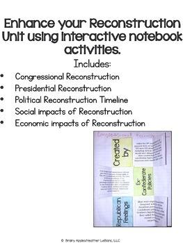 Reconstruction Era Interactive Notebook Activities, US Civil War INB Activities