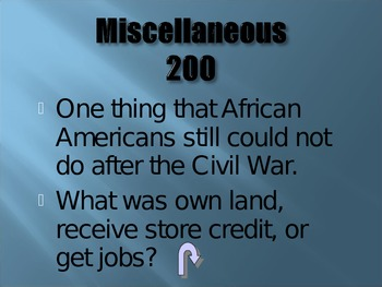 Reconstruction Era Jeopardy