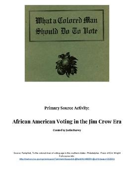 Reconstruction Era: Jim Crow Voting Laws Primary Source Analysis