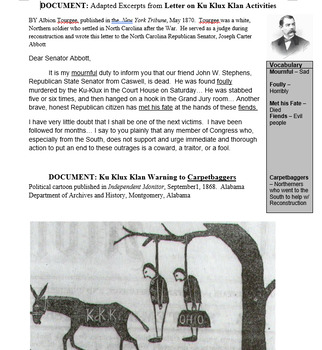 Reconstruction Era Primary Source Text Set