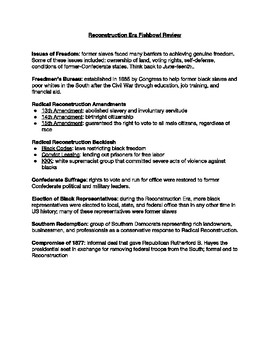 Reconstruction Era Review & Fishbowl (MS)