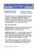 Reconstruction Era Vocabulary Cut and Paste
