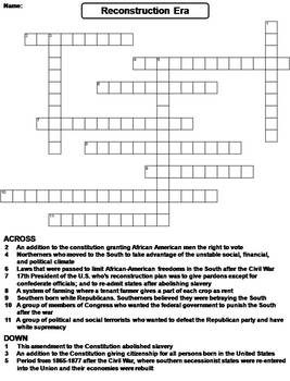 civil war reconstruction era worksheet crossword puzzle by science spot. Black Bedroom Furniture Sets. Home Design Ideas