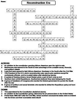 Civil War Reconstruction Era Worksheet/ Crossword Puzzle