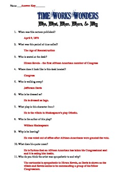 Reconstruction & First African American Congressman Cartoon Worksheet