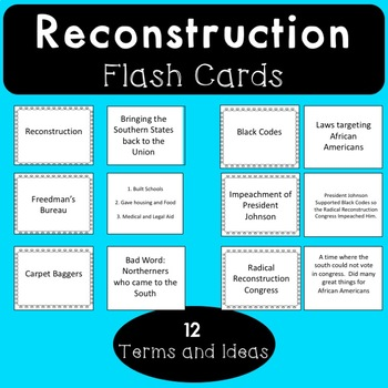 Reconstruction Flash Cards