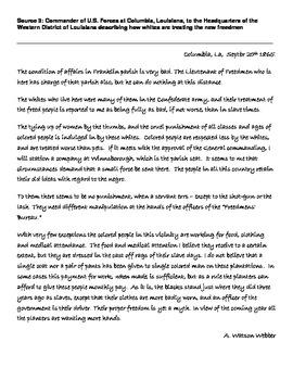 Reconstruction - Freedmen Bureau - Primary Source Analysis