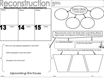 Reconstruction Graphic Organizer by Captivating History Lessons by ...