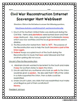 Reconstruction Internet Scavenger Hunt WebQuest Activity