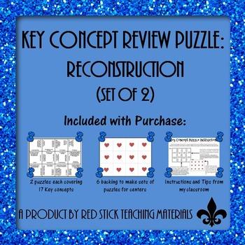 Reconstruction  Key Concepts Puzzle--set of 2