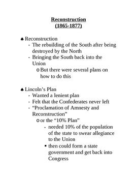 Reconstruction Lecture Outline