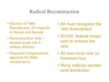 Reconstruction Lesson Plan, Visuals, Discussion Questions