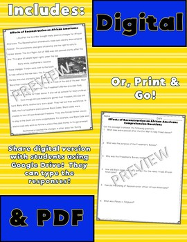 Reconstruction & Life After Close Reading Passages {Digital & PDF Included}