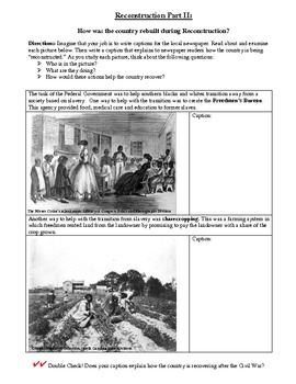 Reconstruction Part II- Primary Sources for Freedmen's Bureau and Sharecropping.