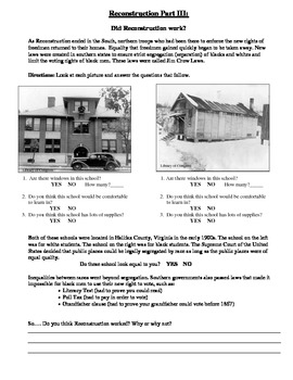 Reconstruction Part III- Primary Sources for Jim Crow Laws