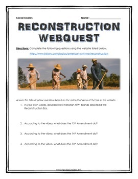 Reconstruction Period - Webquest with Key (History.com)