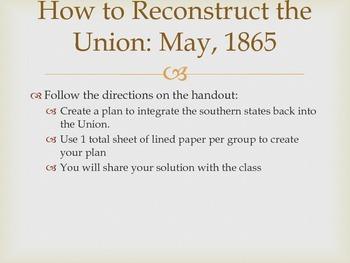 Reconstruction Plans Lesson