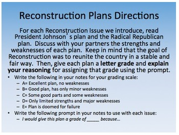 Reconstruction Plans Ppt Response Group Evaluation Activity Civil War