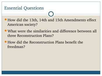 Reconstruction Plans and Politics PowerPoint