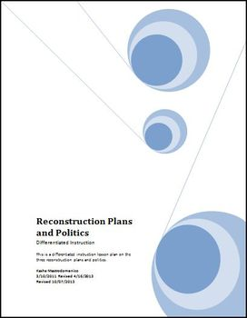 Reconstruction Plans and Politics Differentiated Lesson Plan