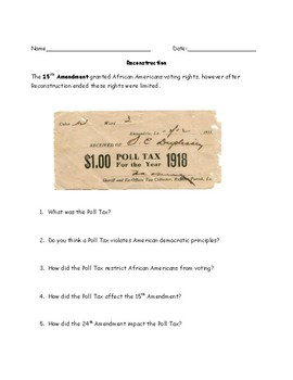 Reconstruction Poll Tax and Literacy Test Worksheet with Answer Key