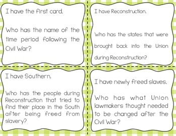 Reconstruction Post Civil War Interactive Vocabulary Game