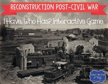 Reconstruction Post Civil War Interactive Vocabulary Game