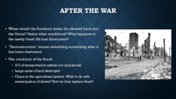 Reconstruction PowerPoint, Guided Notes, and Quiz
