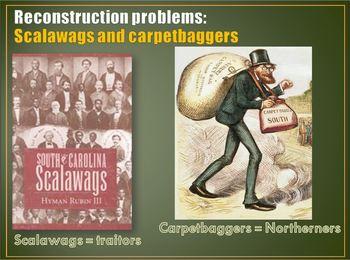 Reconstruction PowerPt1: Civil War, blacks,Jim Crow Law,Scalawags & Carpetbagger