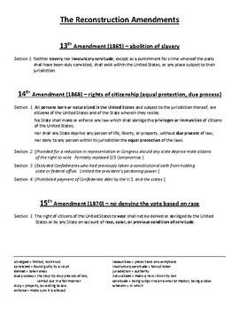 Reconstruction & Progressive Era Amendments Handout