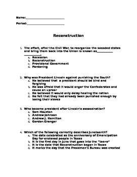 Reconstruction Quiz