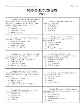 Reconstruction Quiz - VS 8