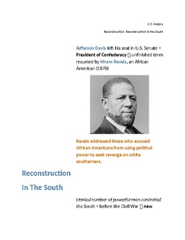 Reconstruction:  Reconstruction in the South (Cornell Notes)