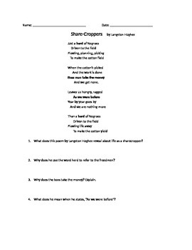 Reconstruction: Sharecropper Poem and Questions