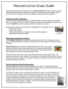 Reconstruction Study Guide and Review Worksheet (VS.8)